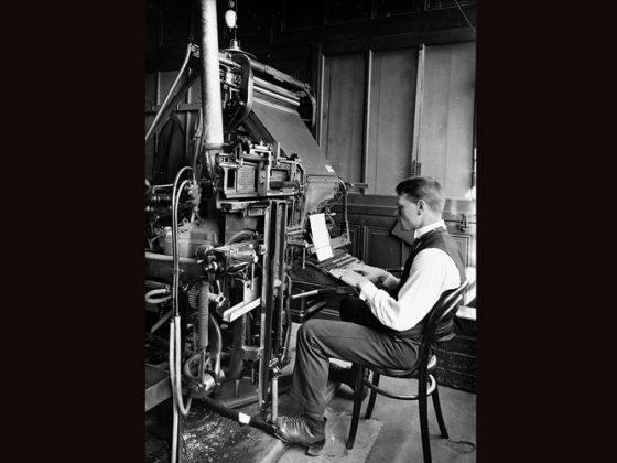 Travail linotype vers 1920